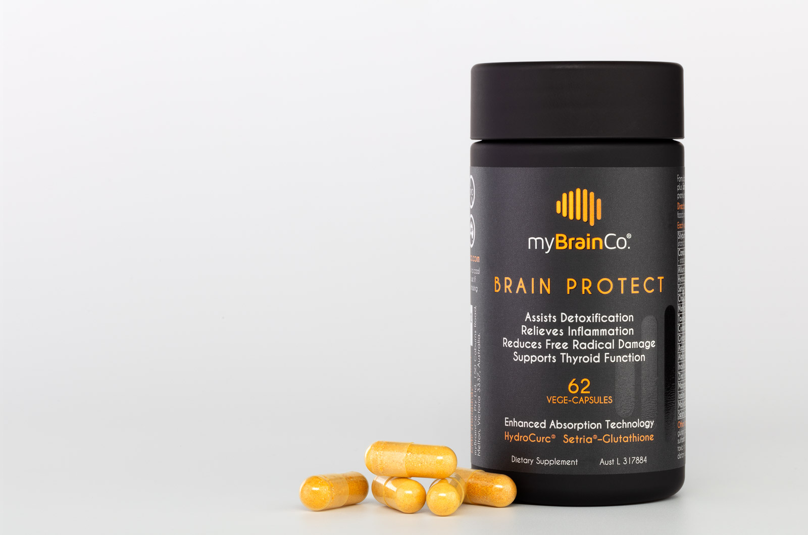 MyBrainCo BrainProtect with pills on side