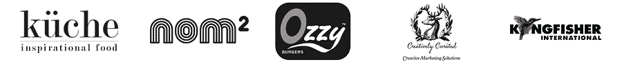 Our clients Ozzy-Burgers, Kuche, King-Fisher, Creatively Curator and Nom2