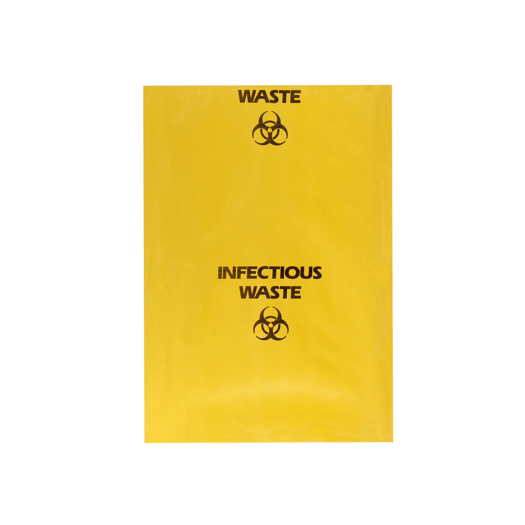 Pro Clean Yellow Infectious waste bag lay flat for size - Product photography sample
