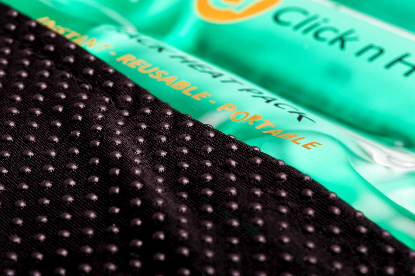 Product photography of Heat pack closeup of fabric