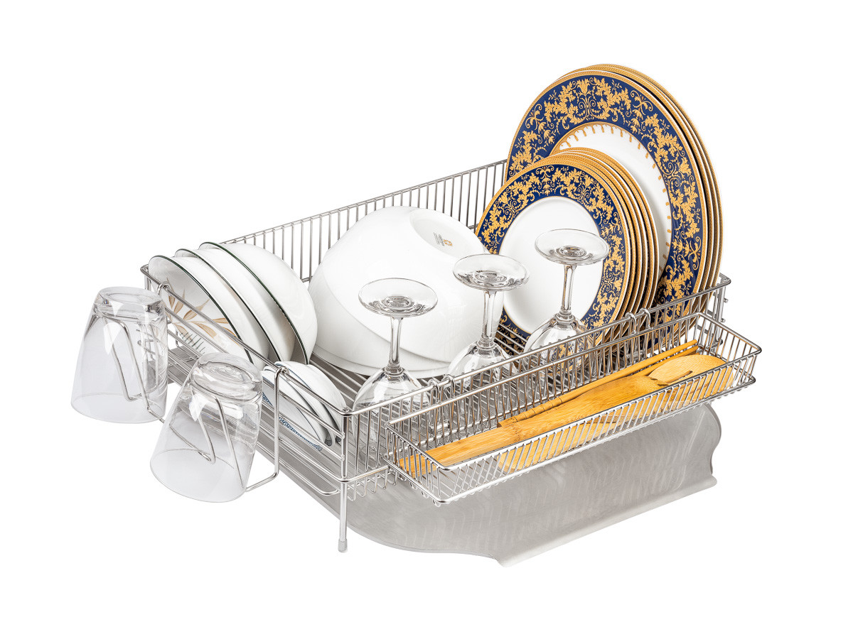 Product photography of product in-use with dish rack and plates