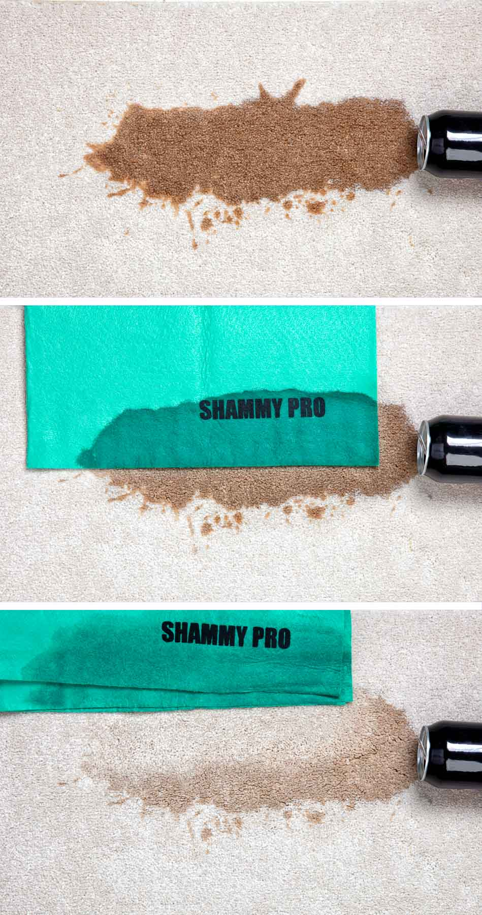 Shammy Pro Carpet demo wider 3 steps same image - Sample of in-use advertising photography