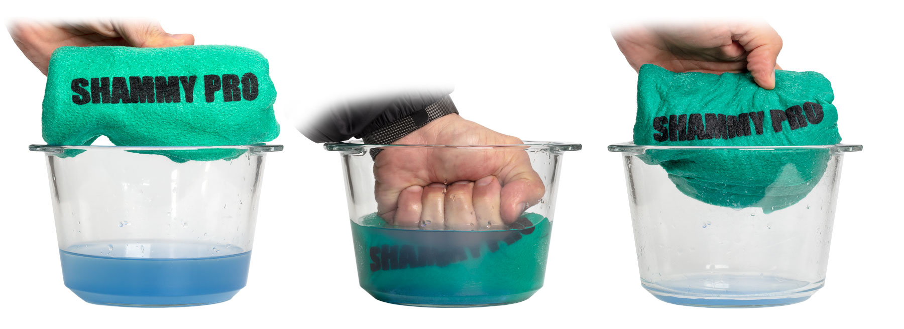 Shammy Pro Demo with Blue liquid in Bowl 3 steps composite - Sample of photo sequence of demonstrating products