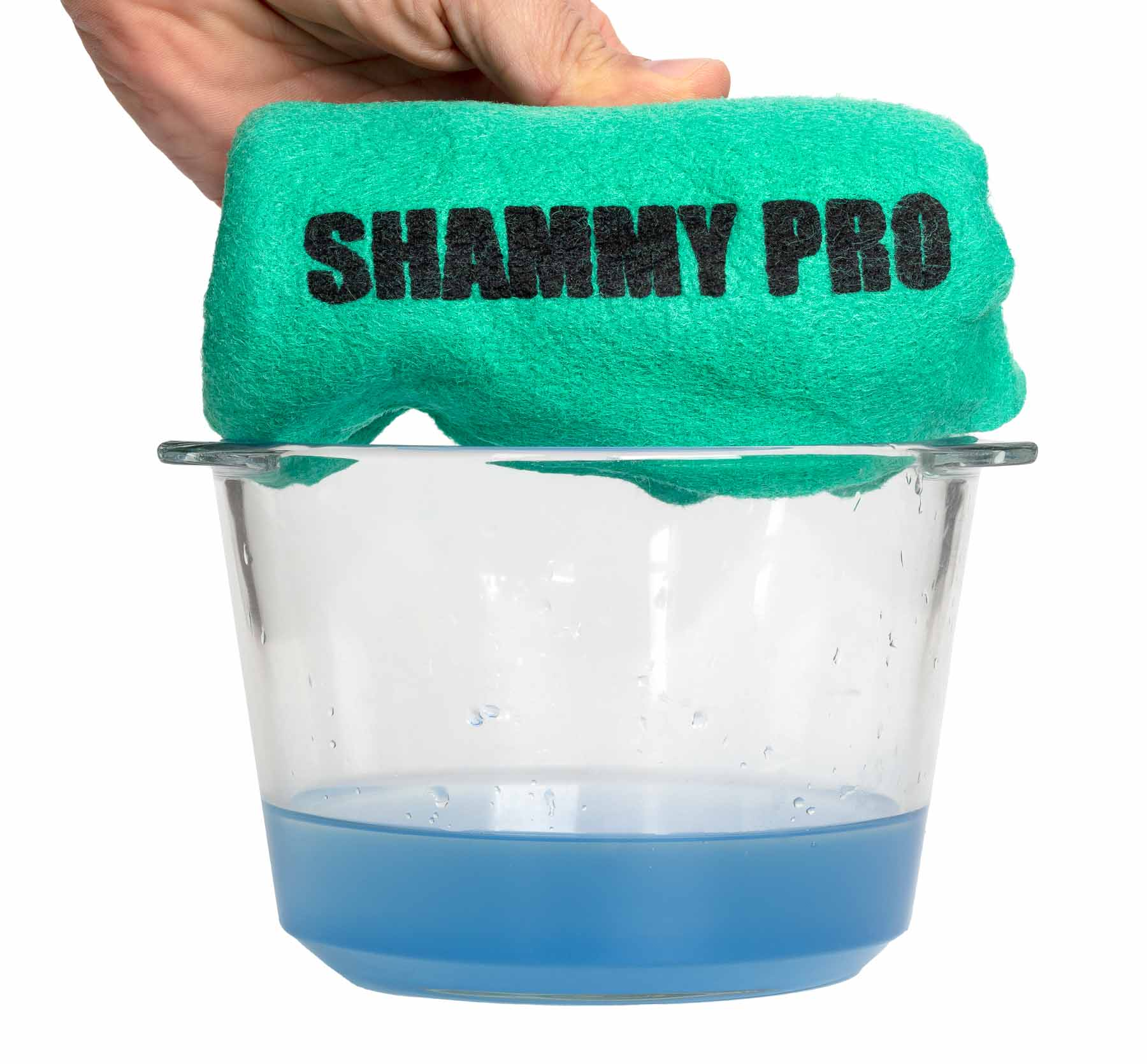Shammy Pro Demo with Blue liquid in Bowl Shammy dry - Demo style advertising photo