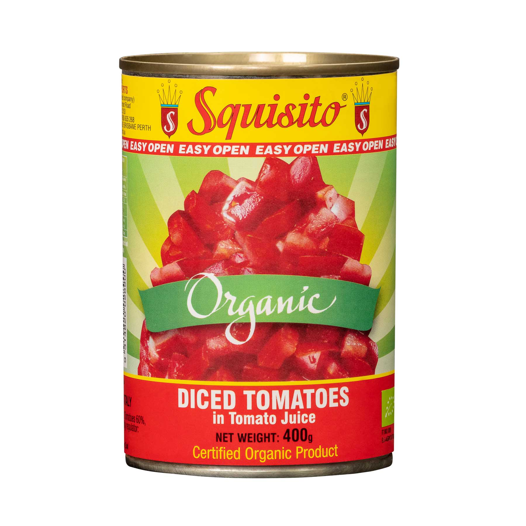 Organic Diced Tomatoes in Tomato Juice - Product Photography sample