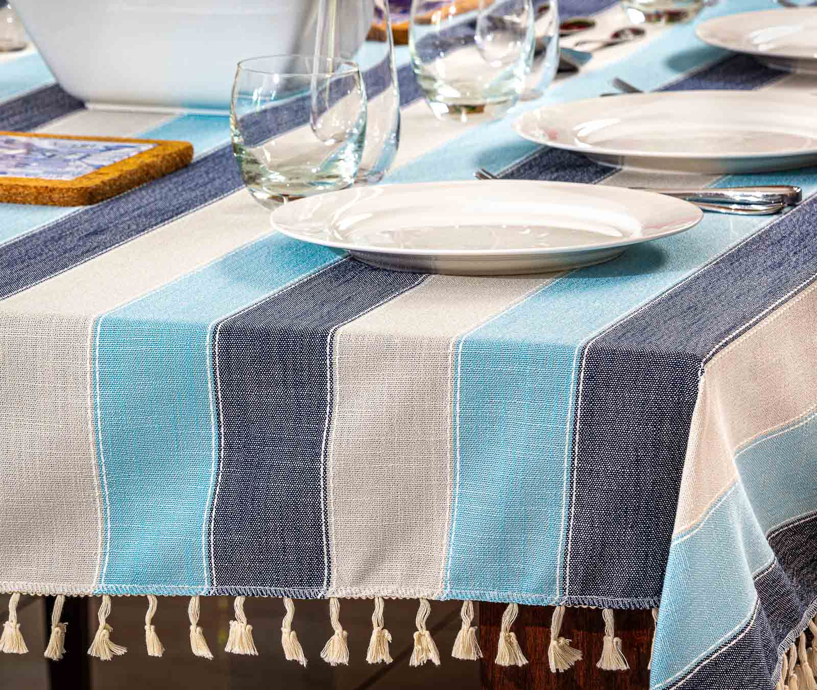 Table Cloth on table lifestyle lunch set closer view - Lifestyle product photography