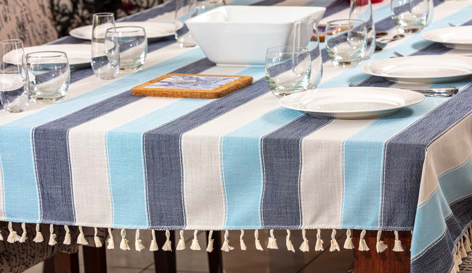 Table Cloth on table lifestyle lunch set- Product photography