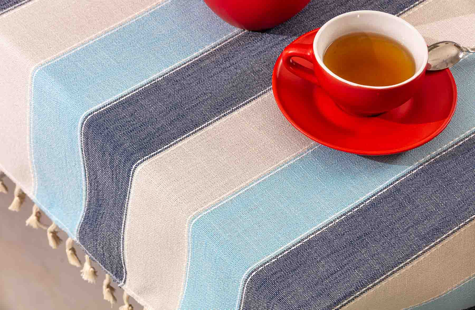 Table Cloth with tea cup lifestyle product photography