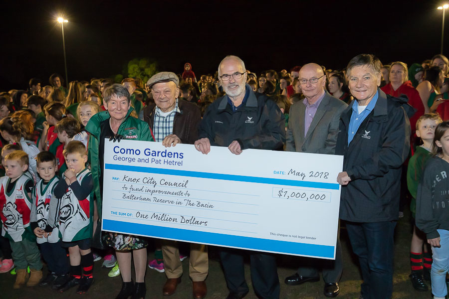 Donation cheque presented during corporate event