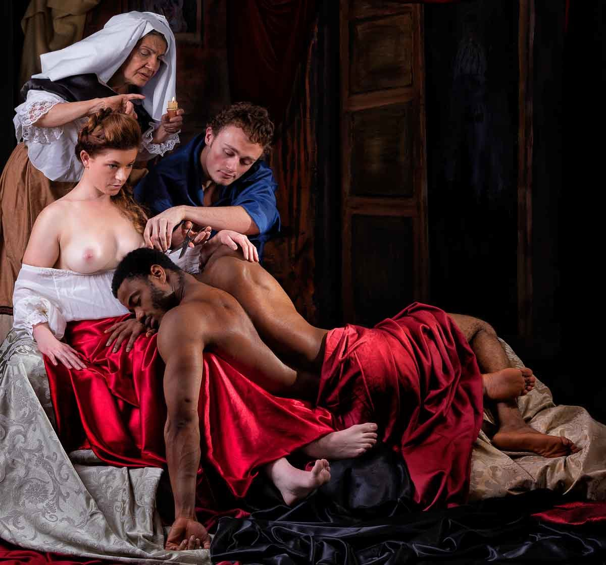 Fine art photography in studio inspired by Samson and Delilah by Peter Paul Rubens